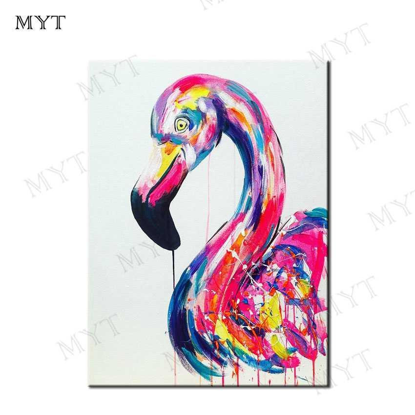 MYT цветной лебедь Бесплатная доставка Высокое качество, расписанные вручную поп-арт 100% ручная работа художественная картина маслом настенная художественная картина без рамки