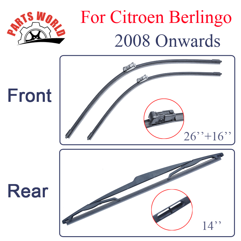 Group Rubber Front And Rear Wiper Blades For <font><b>Citroen</b></font> <font><b>Berlingo</b></font> <font><b>2008</b></font> Onwards.Windscreen Wipers Car Accessories Auto Parts image