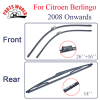 Group Silicone Rubber Front And Rear Wiper Blades For Citroen Berlingo 2008 Onwards Windscreen Wipers Car