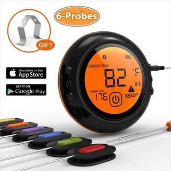 6 Probes Smart Bluetooth Thermometer Wireless Remote Digital BBQ Grill Barbecue Meat Food Cooking Smoker Thermometer - DISCOUNT ITEM  20% OFF All Category