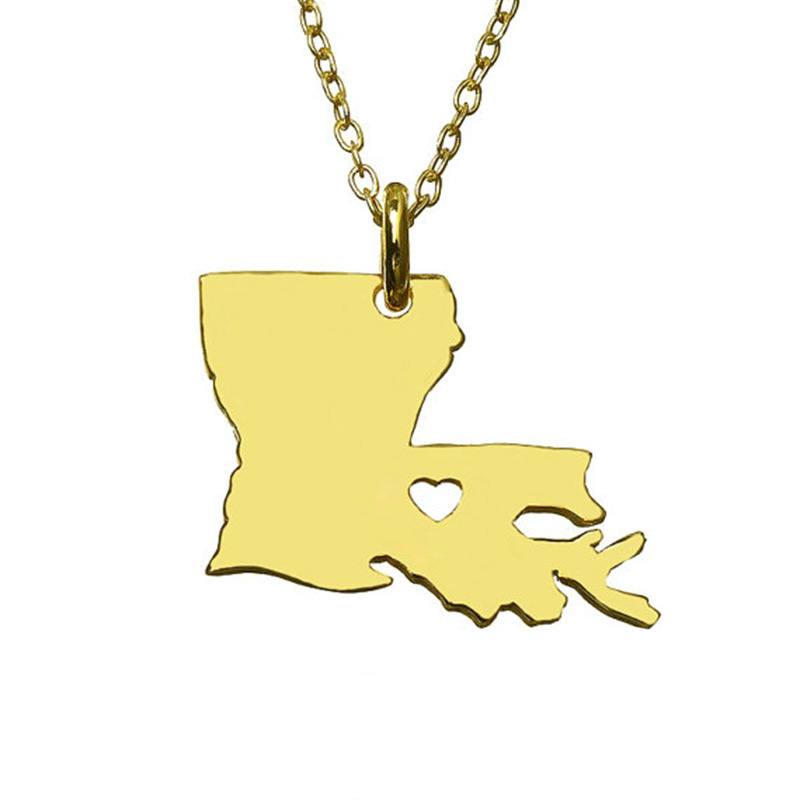 3 Color Louisiana American State Necklace 316 Stainless Steel With Hollow Heart Map Necklace Statement Pendant Jewelry 5PCS