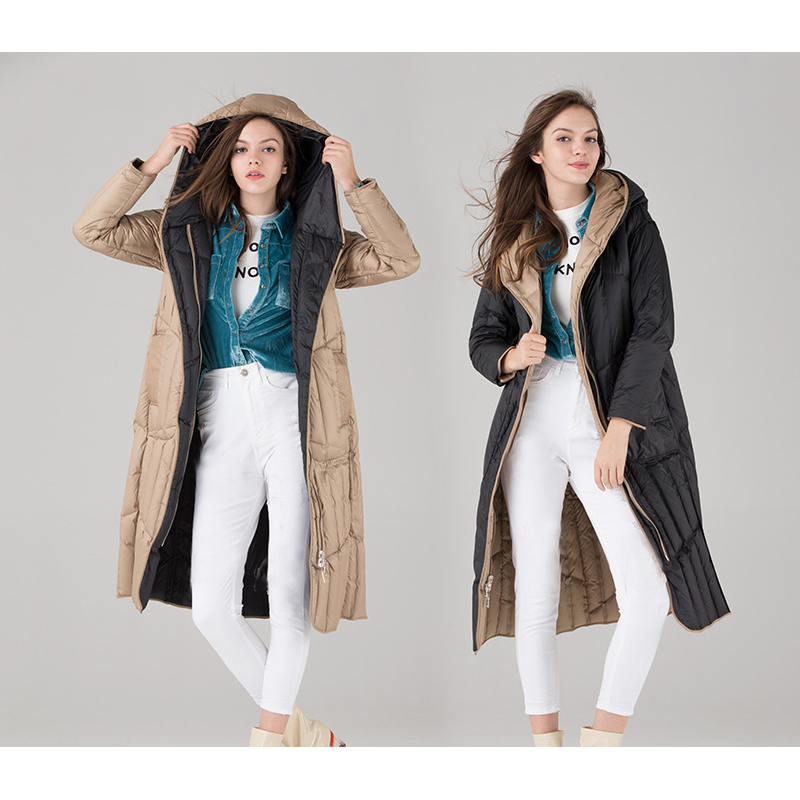 Reversible wear hooded white duck   down   jackets women ultra thin lightweight   down     coats   outerwear 2018 autumn winter