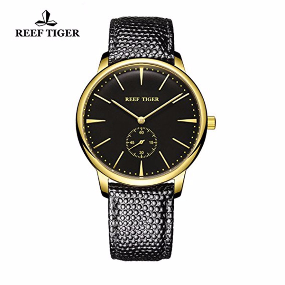 Reef Tiger/RT Couple Watches Ultra Thin Design Yellow Gold Mens Watch Classic Brand Quartz Vintage Watches RGA820