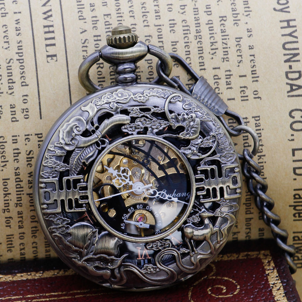 Black Steel Mechanical Pocket Watch Steampunk Vintage Skeleton Hand Winding Mechanical Pocket Watch PJX1312
