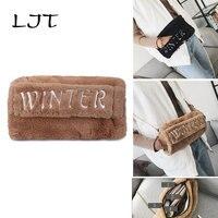 LJT Women Fur Bag 2018 New Letter Clutch Women Shoulder Messenger Bag Multi Functional Warmth Crossbody