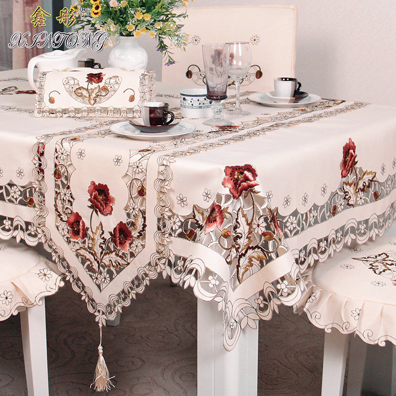 Polyester fiber tablecloth anti oil lace home decoration for Deco table multicolore