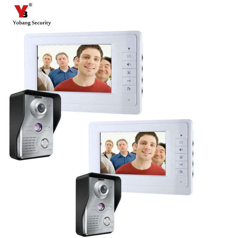 Yobang Security 7 inch Wired Video Door Bell Phone System Video intercom equipment Home Security Video intercom Camera wired video door phone intercom system with 7 inch color monitor 700tvl aluminum alloy camera for home security