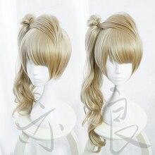 LoveLive! אהבה חי מינאמי Kotori ארוך מתולתל פשתן פשתן חום עמיד שיער Cosplay תלבושות פאה + חינם פאה כיפה