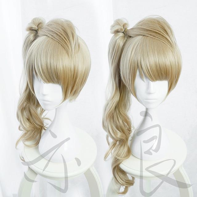 LoveLive! الحب لايف مينامي Kotori طويل مجعد الكتان الكتاني الحرارة مقاومة الشعر تأثيري الباروكة حلي + مجانا كاب الباروكة