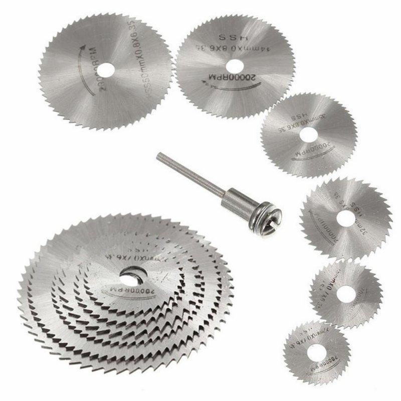 7pcs HSS Rotary Tools Circular Saw Blades Cutting Discs Set High Quality Drill Mandrel Cutoff Cutter Power Tools Multitool Saw