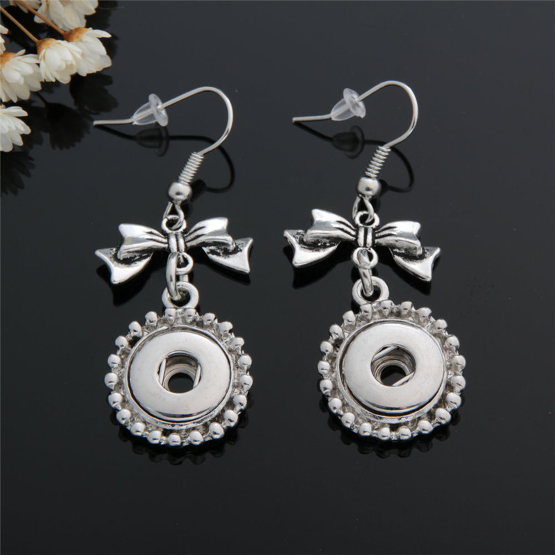 Bowknot Metal 12mm Snap Buttons Earrings Fashion Antique Silver Jewelry For Girls