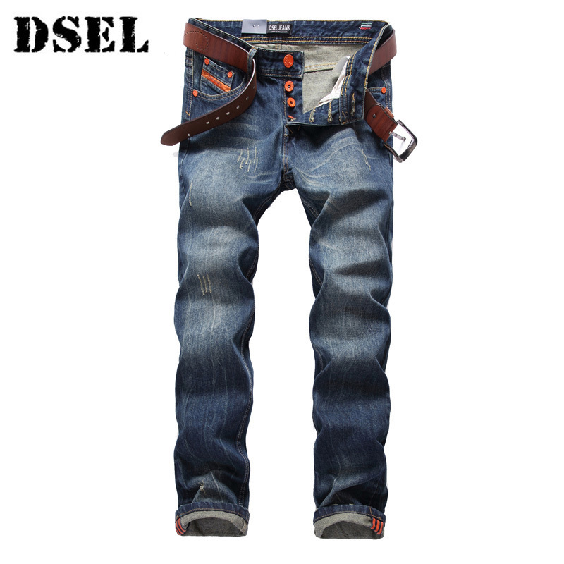 DSEL Blue Jeans Men Straight Denim Jeans Trousers High Quality Cotton Orange Button Vintage Pants xmy3dwx n ew blue jeans men straight denim jeans trousers plus size 28 38 high quality cotton brand male leisure jean pants