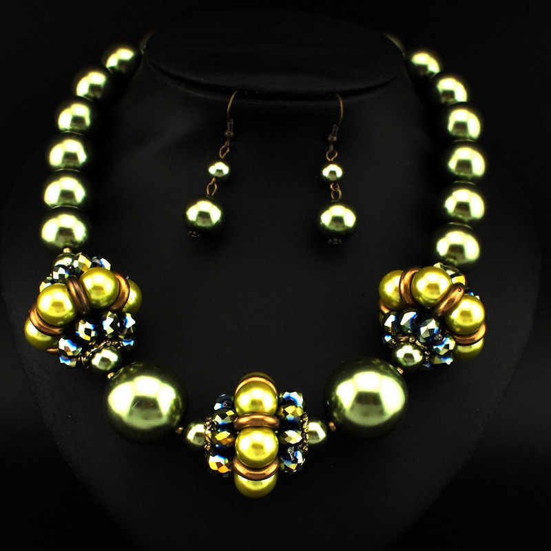 African Style Fashion Jewelry Set Imitation Pearl Flower Bead Necklaces Matching Earrings Set Women Wedding Jewelry CE3202