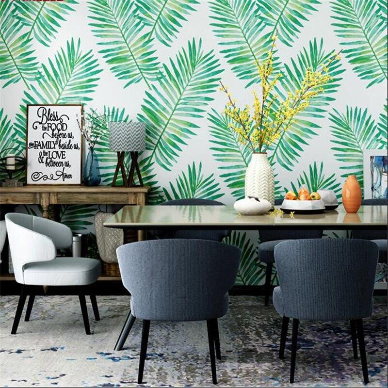 Beibehang Nordique style papier peint ins Sud-Est Asie feuille de bananier plante tropicale restaurant salon TV fond d'écran