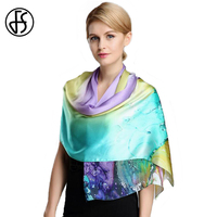 FS Chinese 100 Silk Floral Scarves Brand Luxury High Quality Scarf For Women Echarpes Hijab Ladies