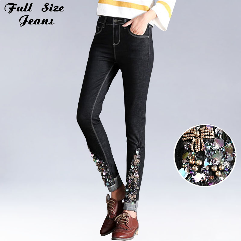 Sexy Slim Beading Rhinestones Floral embroidery Black Skinny Ankle Length Jeans Elastic Women Low Waist Denim Capris Pencil Pant