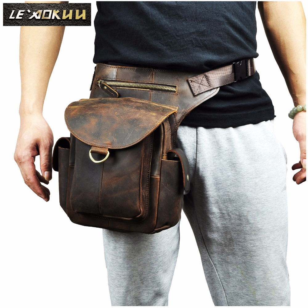 Quality Crazy Horse Leather Men Design Casual Messenger Bag Fashion Multifunction Travel Waist Belt Pack Drop Leg Bag Male 9938