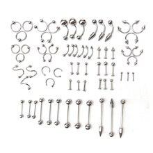 66 Pc Multi-Style Stainless Steel Piercing Stud Set