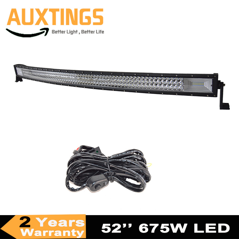 7D Curved Led Light Bar 675W 52inch Triple Row Combo Offroad Light Driving Lamp For Car Truck SUV 4X4 4WD ATV