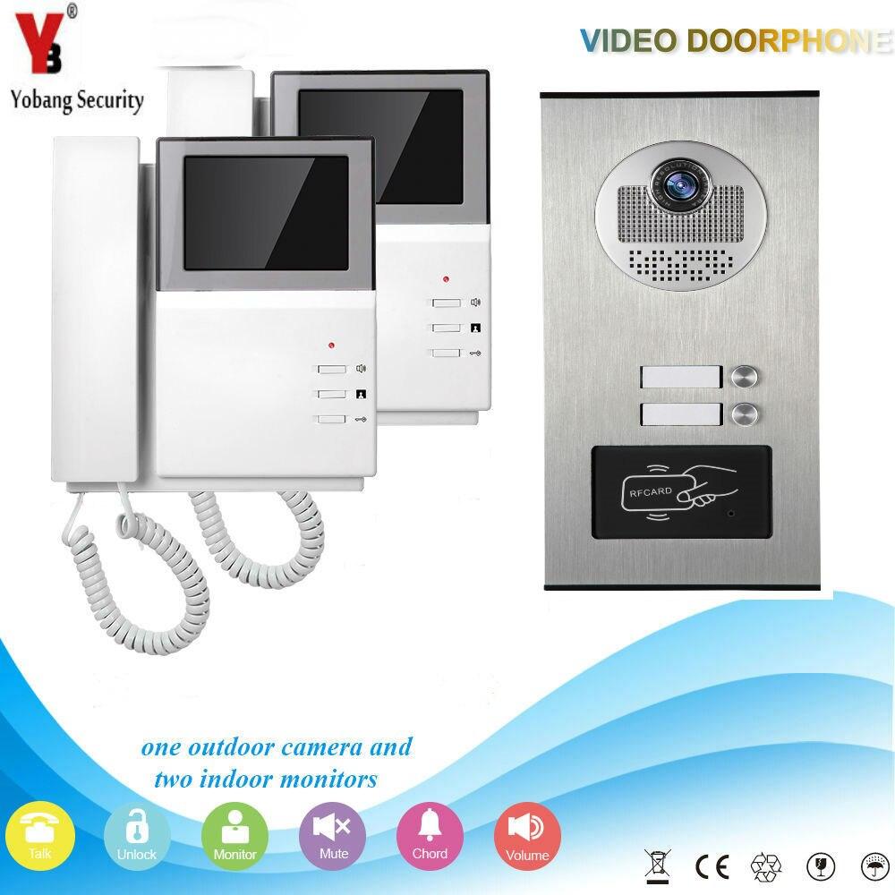 Yobang Security Video Citofono 4.3 Pollice Video Telefono Del Portello Campanello Intercom Sistema RFID Porta di Accesso Della Macchina Fotografica Per 2 Unità Appartamento