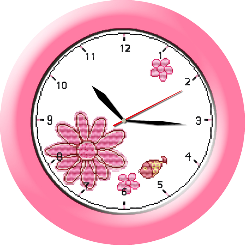 Pink lover cross stitch kit 14ct 11ct count print canvas wall clock stitching embroidery DIY handmade needlework