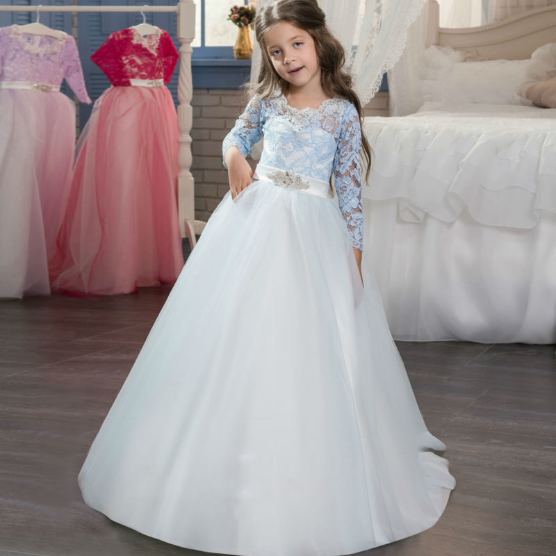Mermaid First Communion Dress Long Sleeve Flower Girls Dresses for Wedding Bow Mother Daughter Dresses Lace Girls Pageant Desses 1 12t pink lace long trailing wedding dress flower girl dresses appliques first communion dresses for girls pageant dresses