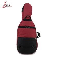 Portable 4/4 Cello Soft Case Red & Black Stitching Oxford Thicken Durable Cello Cover Bag