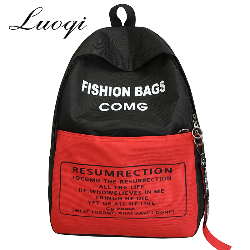 High Quality Oxford Women Backpack Fashion Letter Female Bags School Backpack for Teenger Girls New Patchwork Women Back Pack