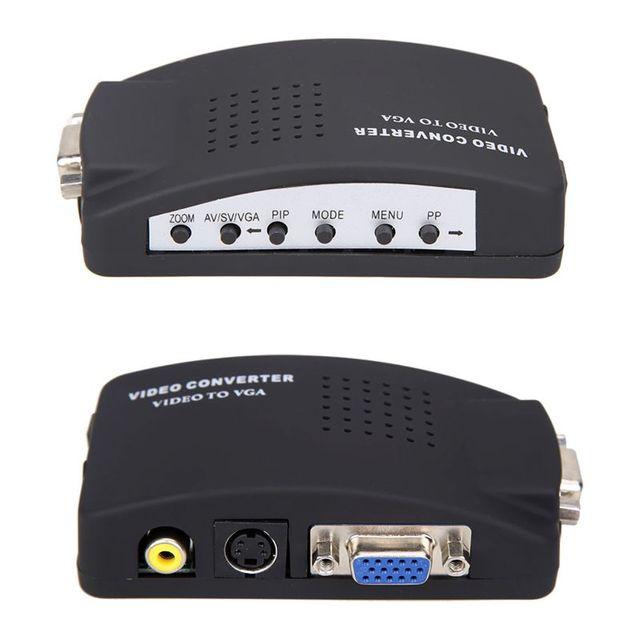 Nuevo s-video rcaav compuesto a vga adaptador convertidor de vídeo con usb fuente de Alimentación para TV Cable VGA Al Convertidor de la PC Sin Incluir