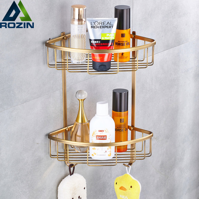 Antique Br Wall Mounted Shower Shelf Shampoo Holder Bathroom Corner Rack Storage Basket Hanger