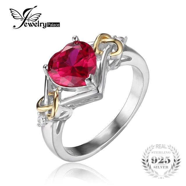 Jewelrypalace nudo de amor corazón 2.5ct creado rojo rubí aniversario promesa anillo de plata de ley 925 18 k oro amarillo de las mujeres de moda