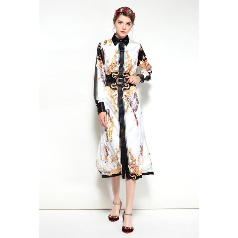 Longues Mode Pic Bas Femmes Patchwork Vintage Robe À Vêtements 2018 As Arrivée De Manches Le Nouvelle Auturn Vers Tournent Empire Imprimer Slim w1xYOq6vE