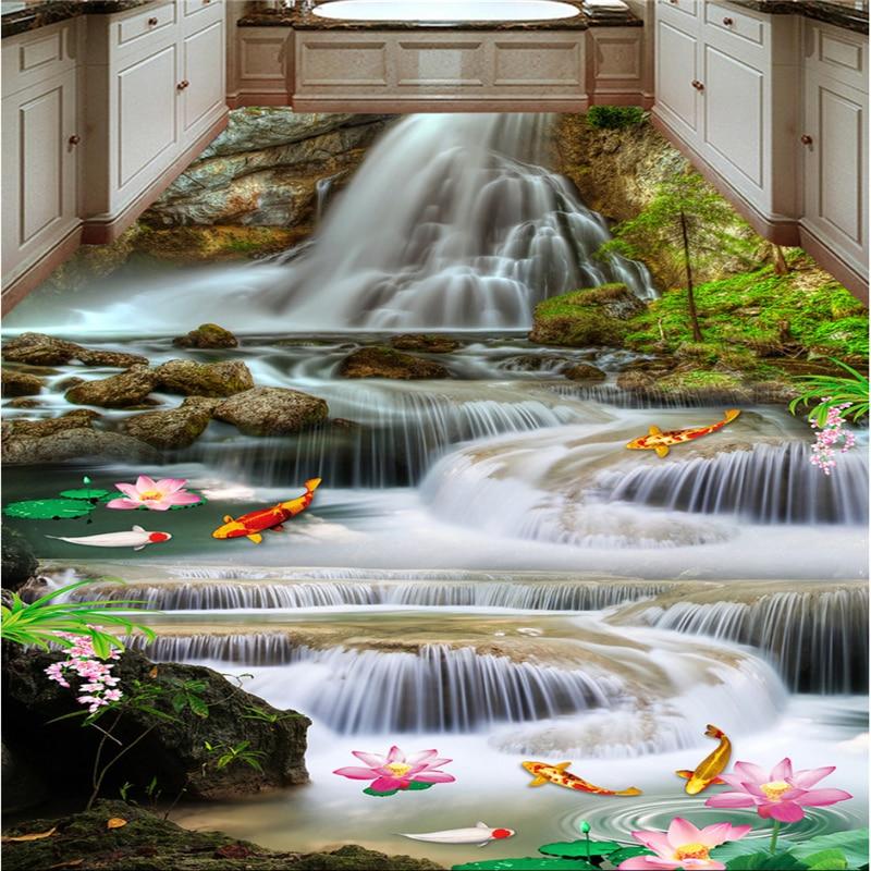 beibehang Large custom flooring water production lotus carp waterfall 3D 3D floor tiles beibehang custom 3d personality summer