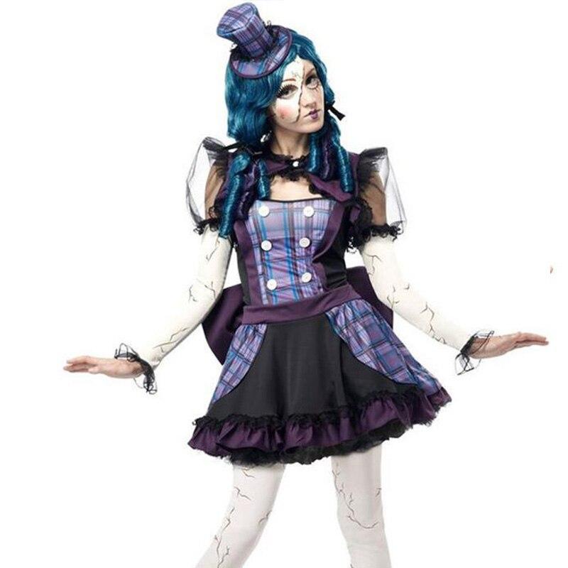 2015 High Quality Teen Girls Broken Doll Clowns Circus Costume For Women Halloween -4531