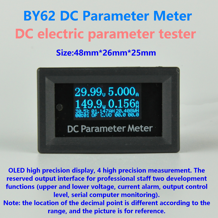 GWUNW BY62 DC0-30V 4Bit Voltage Current capacity power Temp wh Meter OLED Multifunction DC electric parameter tester