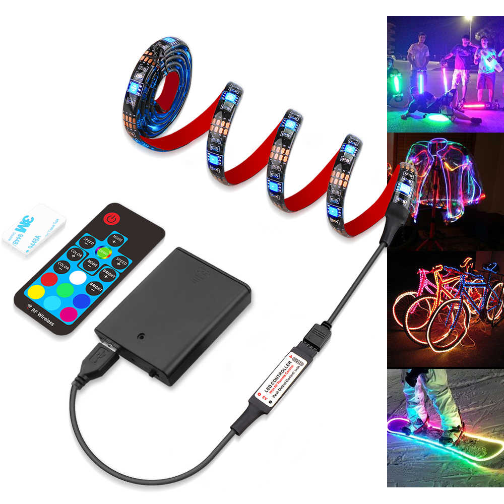 Ribbon RGB LED Strip Battery Operated SMD 5050 Tape Lights RF 17Key Remote / Bluetooth APP Control, USB Battery Powered 1m 2m