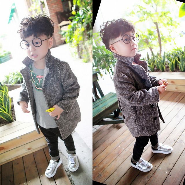 Autumn Winter Boys Coat Children Fashion Outerwear Medium-Long Kids Wool Jacket Single Breasted Baby Trench Overcoat TZ138