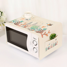 Korean fabric microwave cover with storage bag pouch dust cover Cotton Cloth Decal