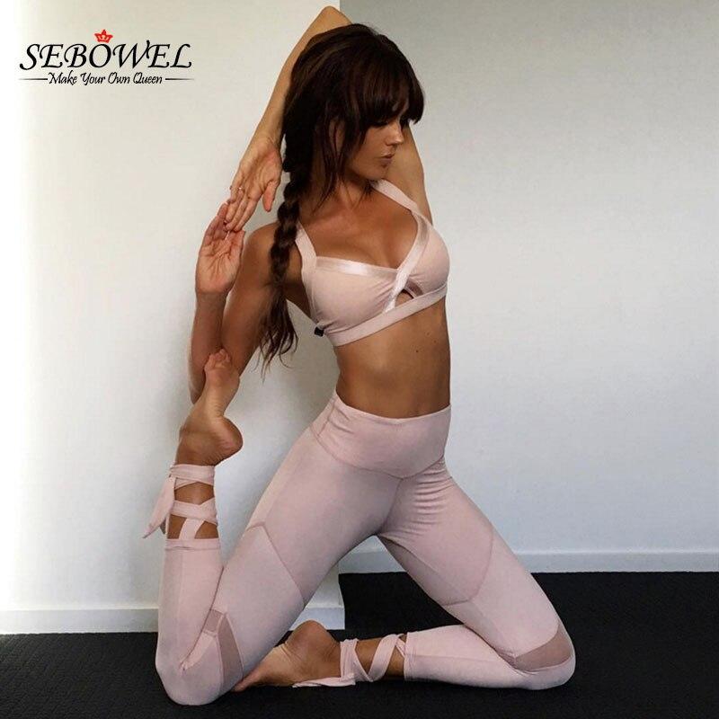SEBOWEL Bandage Yoga Sports Leggings For Women High Waist Leggings Pink/Black Workout Yoga Clothing Fitness Slim Gym Yoga Pants artificial leather splicing lace bandage leggings black