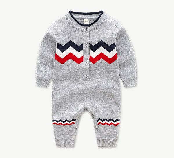 Boys and girls cotton knitted jumpsuit with wavy stripes long sleeved trousers baby clothes