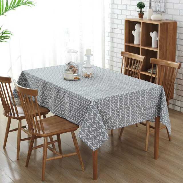 European Simple Striped Table Cloth Wedding Table Covers Gray/Yellow Canvas  Tablecloth For Kitchen Coffee
