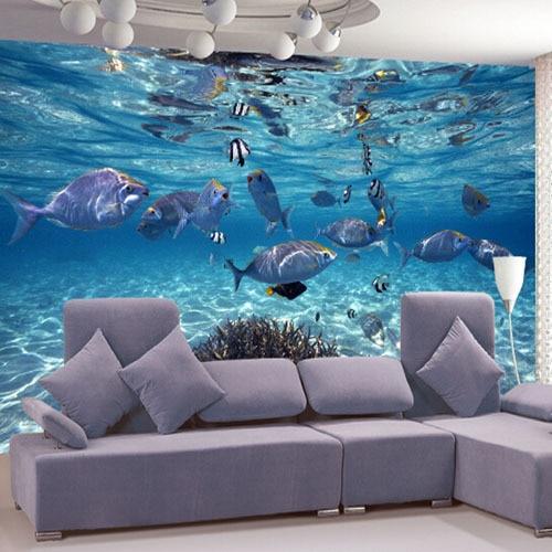 Sea World Underwater Murals Murales Large Marine Fish For Childrens Bedroom Living Room 3D Mural Wallpaper