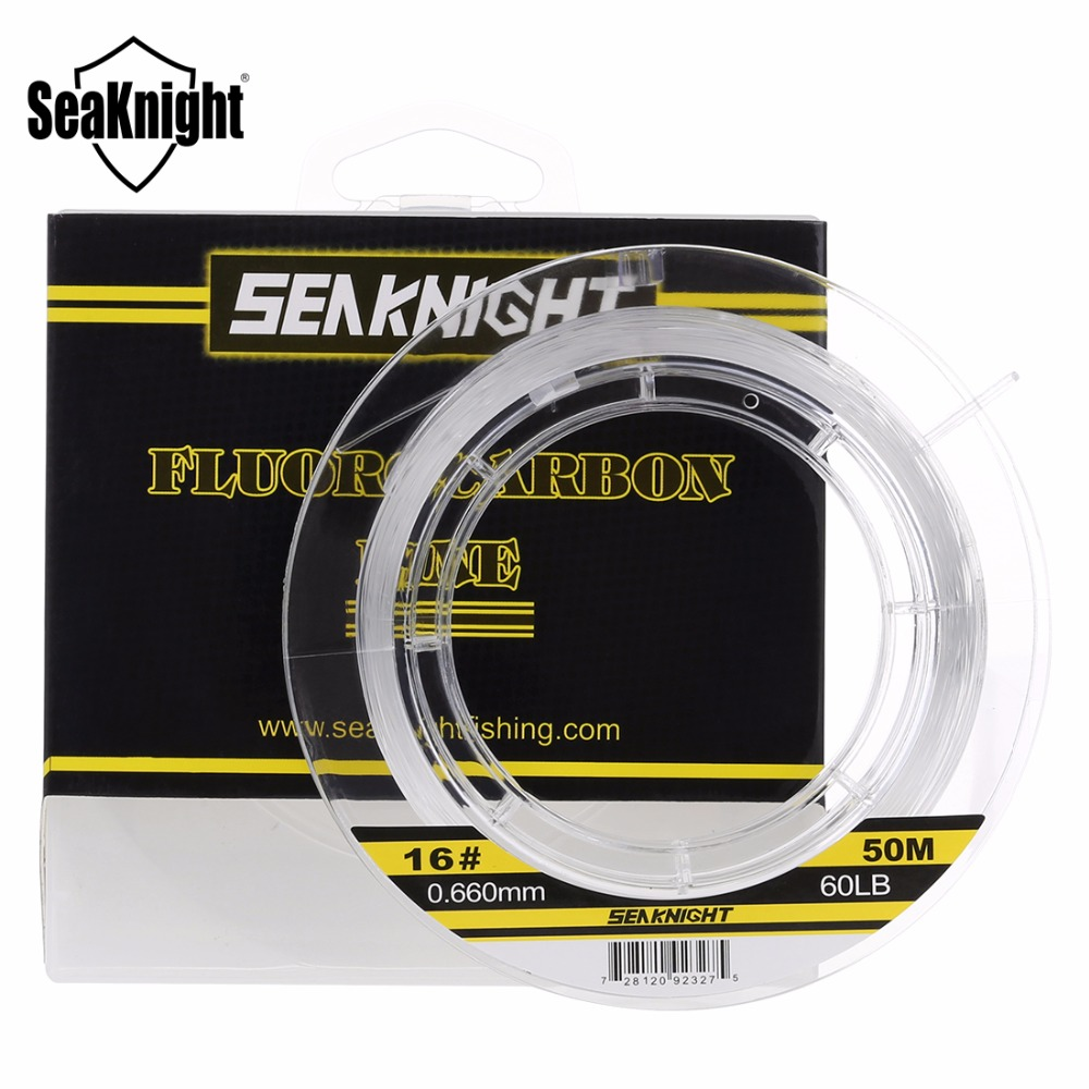 SeaKnight 100% Japan Material Fluorocarbon Fishing Lines 50M Carbon Fiber Fishing Line Leader Line Fast Sinking 60 70 80 100LB