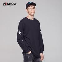 VIISHOW Brand 2017 Summer 100 Cotton Long Sleeve T Shirt Geometric Pattern Round Necklace T Shirt