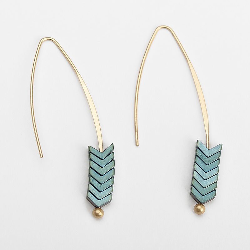 MISANANRYNE Vintage Natural Stud Earrings Gold Arrow Long Hook Earrings for Women Fashion Jewelry Punk Brincos 2019
