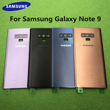 Original สำหรับ Samsung Galaxy หมายเหตุ 9 N960 SM N960F โทรศัพท์กระจกด้านหลังแบตเตอรี่กรณี Note9 กลับกล้องกระจกฝาครอบ