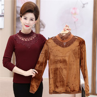 Fashion 2018 Autumn Winter Middle Aged Women Long Sleeve Lace Shirts Ladies Tops Blusas Warm Velvet Shirts Tops Plus Size X142