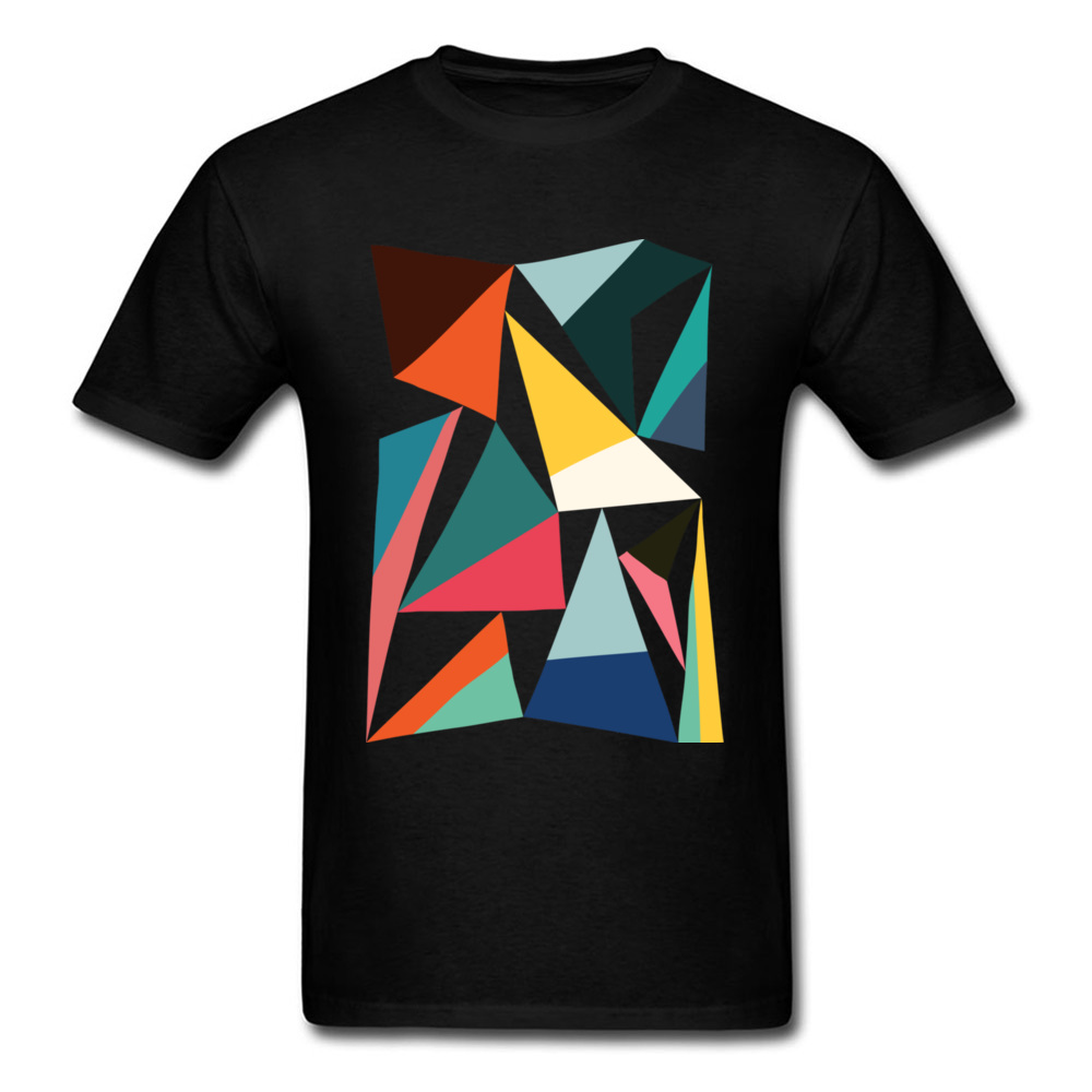 Geek Tshirt For Man Collection Of Geometric T-shirt Colorful Street Style Clothing Mens Black Top Tees Cotton T Shirts Plus Size