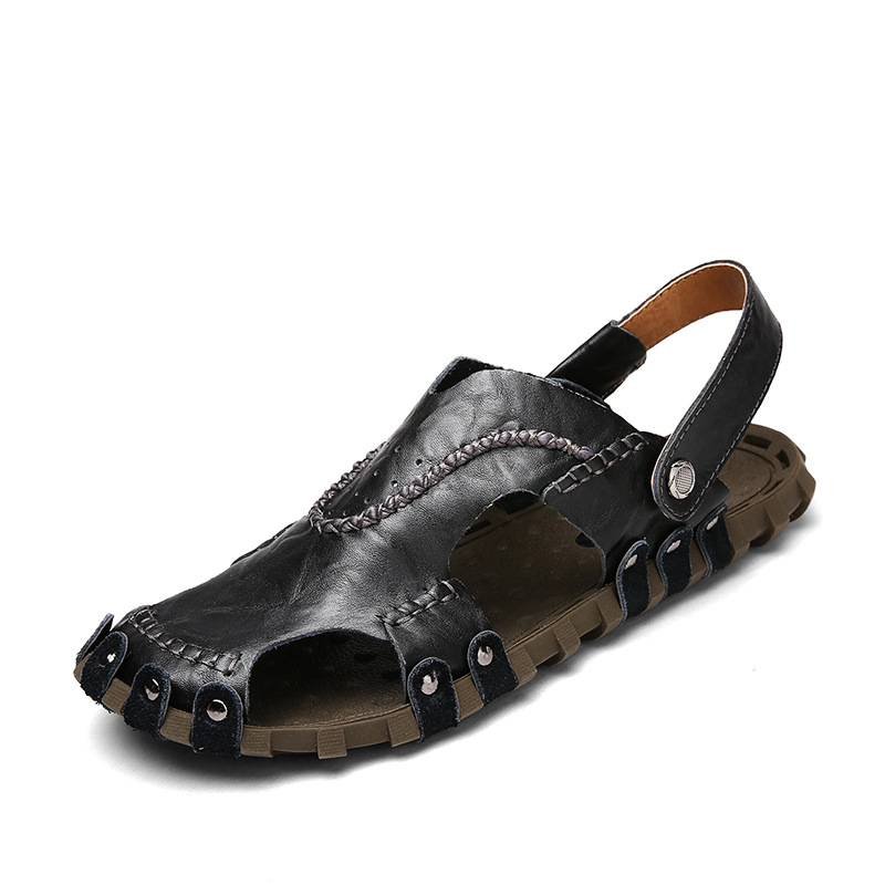 New Mr Smile Mens Shoes Leisure Baotou Genuine Leather Beach Sandals 2018 Summer Mens Sandal Sandals