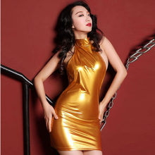 317fa8baa0498 Patent Leather PU Faux Leather Shiny Dress Women Backless Halter Hot Sexy  Dresses Candy Color Minidress Night Club Party Vestido